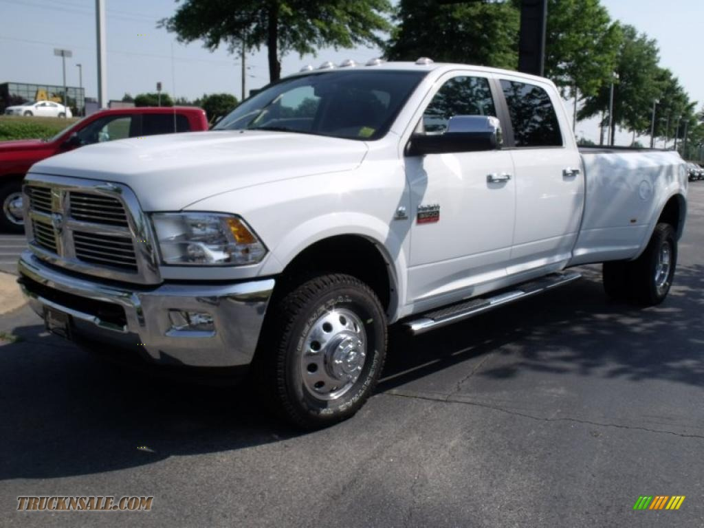 2011 dodge ram 3500 hd laramie crew cab 4x4 dually in bright white 604880 truck n 39 sale. Black Bedroom Furniture Sets. Home Design Ideas