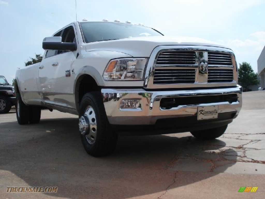 2011 dodge ram 3500 hd laramie longhorn crew cab 4x4 dually in bright white 613132 truck n 39 sale. Black Bedroom Furniture Sets. Home Design Ideas