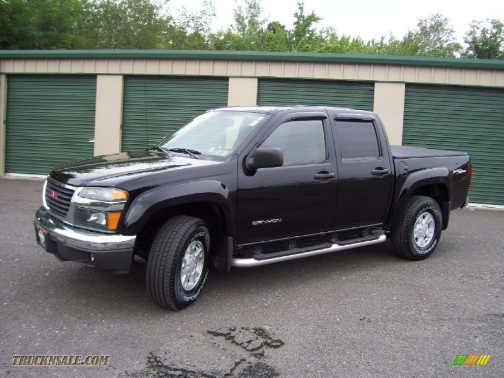 2004 gmc canyon sle crew cab 4x4 in black 201263 truck n 39 sale. Black Bedroom Furniture Sets. Home Design Ideas