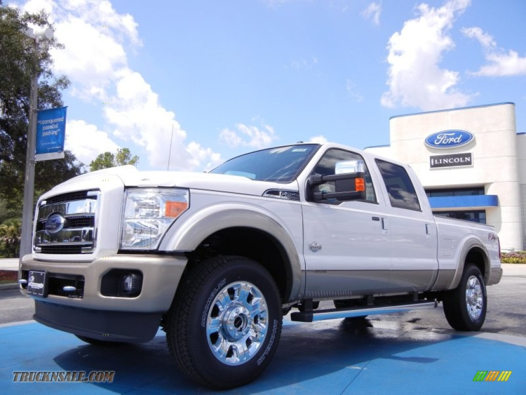 White platinum metallic tri coat chaparral leather ford f250 super duty king ranch crew