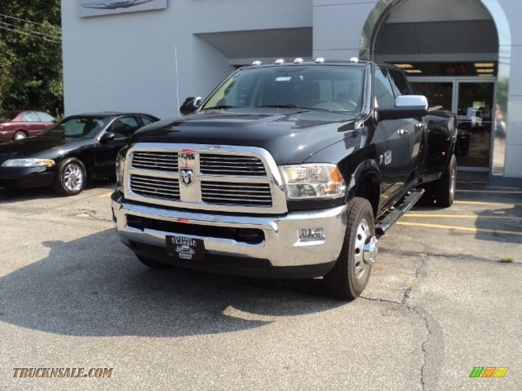 2012 Ram 3500 HD Laramie Longhorn Crew Cab 4x4 Dually - Black / Light Pebble Beige/Bark Brown photo #1