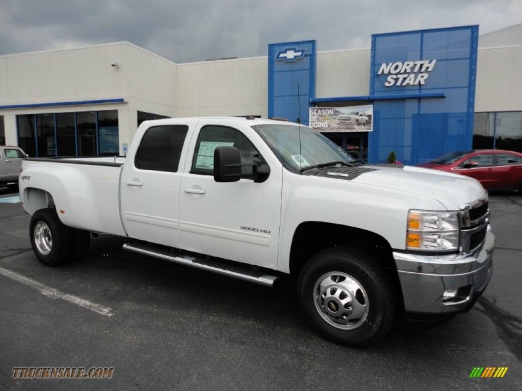 Summit white ebony chevrolet silverado 3500hd ltz crew cab 4x4 dually