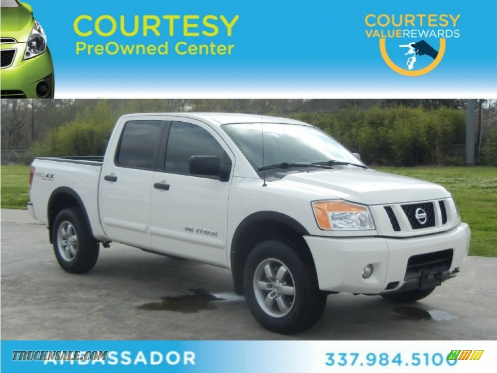 2010 nissan titan pro 4x crew cab 4x4 in blizzard white 311236 truck n 39 sale. Black Bedroom Furniture Sets. Home Design Ideas