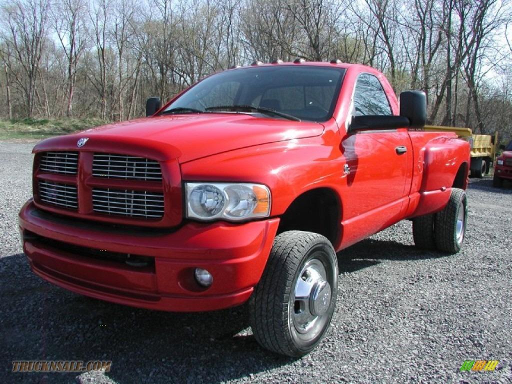 2005 dodge ram 3500 slt regular cab 4x4 dually in flame red 779636 truck n 39 sale. Black Bedroom Furniture Sets. Home Design Ideas