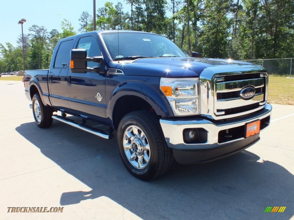 Blue Pearl Metallic / Black Ford F250 Super Duty Lariat Crew Cab 4x4