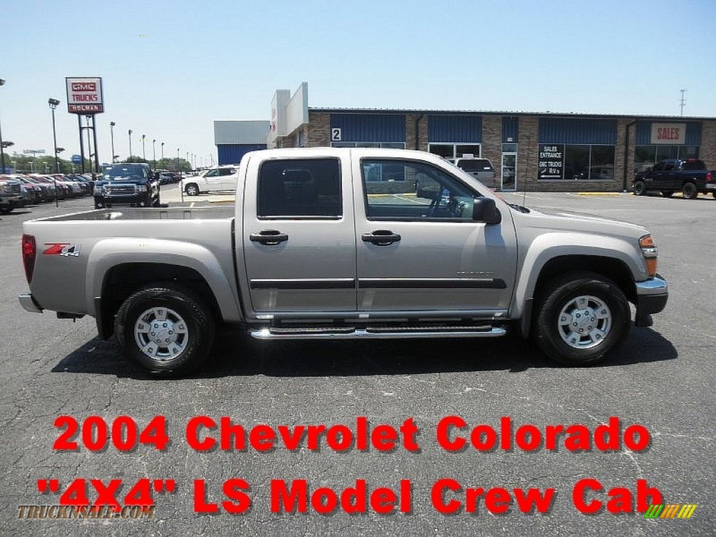 2004 chevrolet colorado ls crew cab 4x4 in silver birch metallic 129407 truck n 39 sale. Black Bedroom Furniture Sets. Home Design Ideas