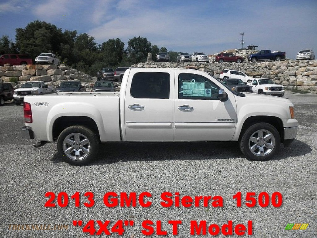 2013 Sierra 1500 SLT Crew Cab 4x4 - White Diamond Tricoat / Ebony photo #1