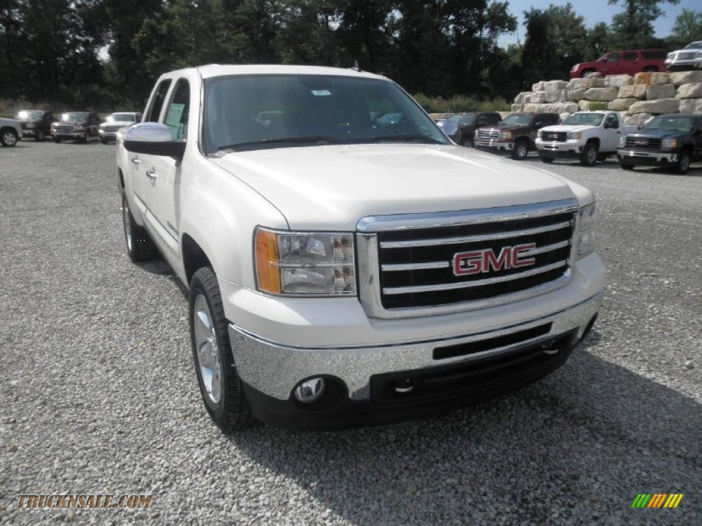 2013 Sierra 1500 SLT Crew Cab 4x4 - White Diamond Tricoat / Ebony photo #2