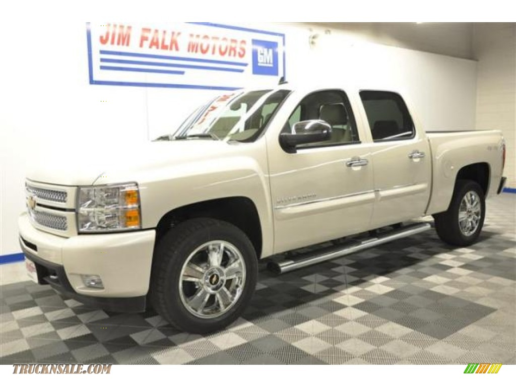 2013 Silverado 1500 LTZ Crew Cab 4x4 - White Diamond Tricoat / Light Cashmere/Dark Cashmere photo #1