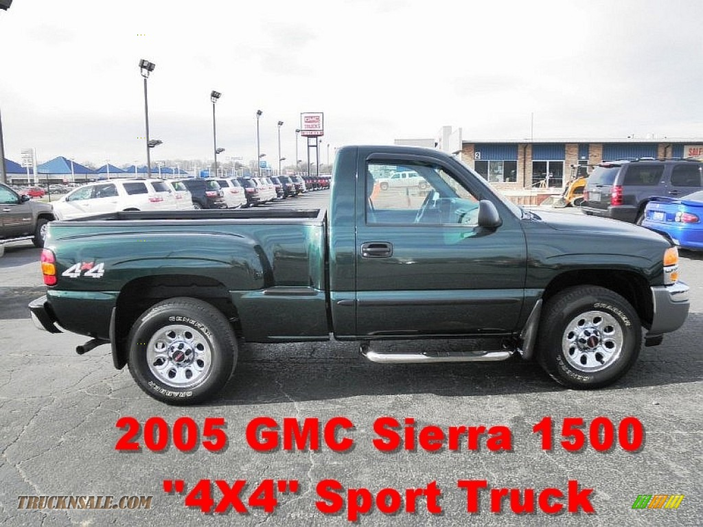 2005 gmc sierra 1500 work truck regular cab 4x4 in polo green metallic photo 4 166217 truck. Black Bedroom Furniture Sets. Home Design Ideas