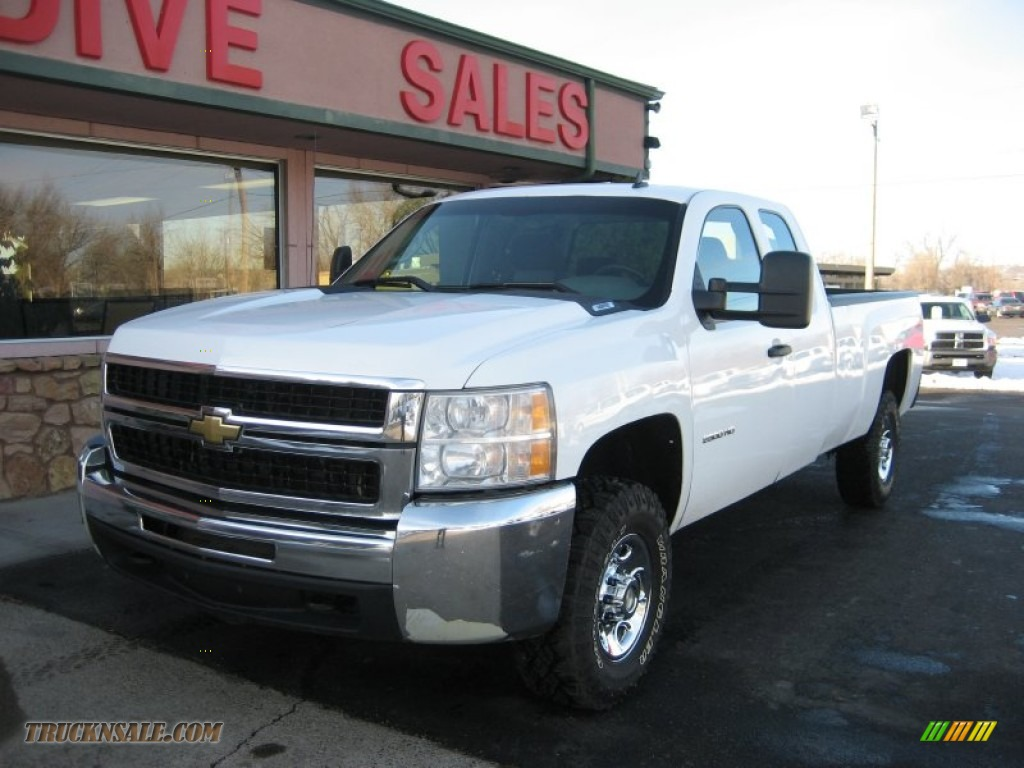 2008 chevrolet silverado 2500hd work truck extended cab 4x4 in summit white 111156 truck n 39 sale. Black Bedroom Furniture Sets. Home Design Ideas